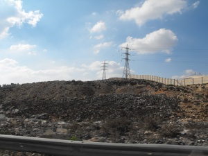 The wall constructed to divide Israel from the West Bank.